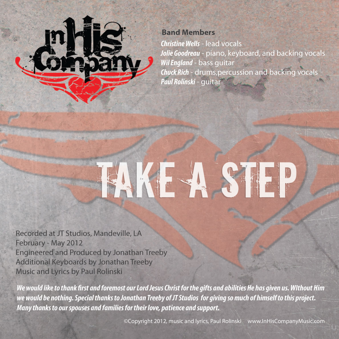 In His Company: Take a Step CD Design | MDG Marketing Firm | Covington, Louisiana