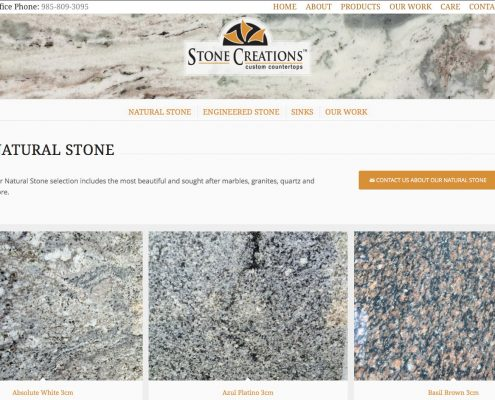 Stone Creations Website Design by MDG | Louisiana