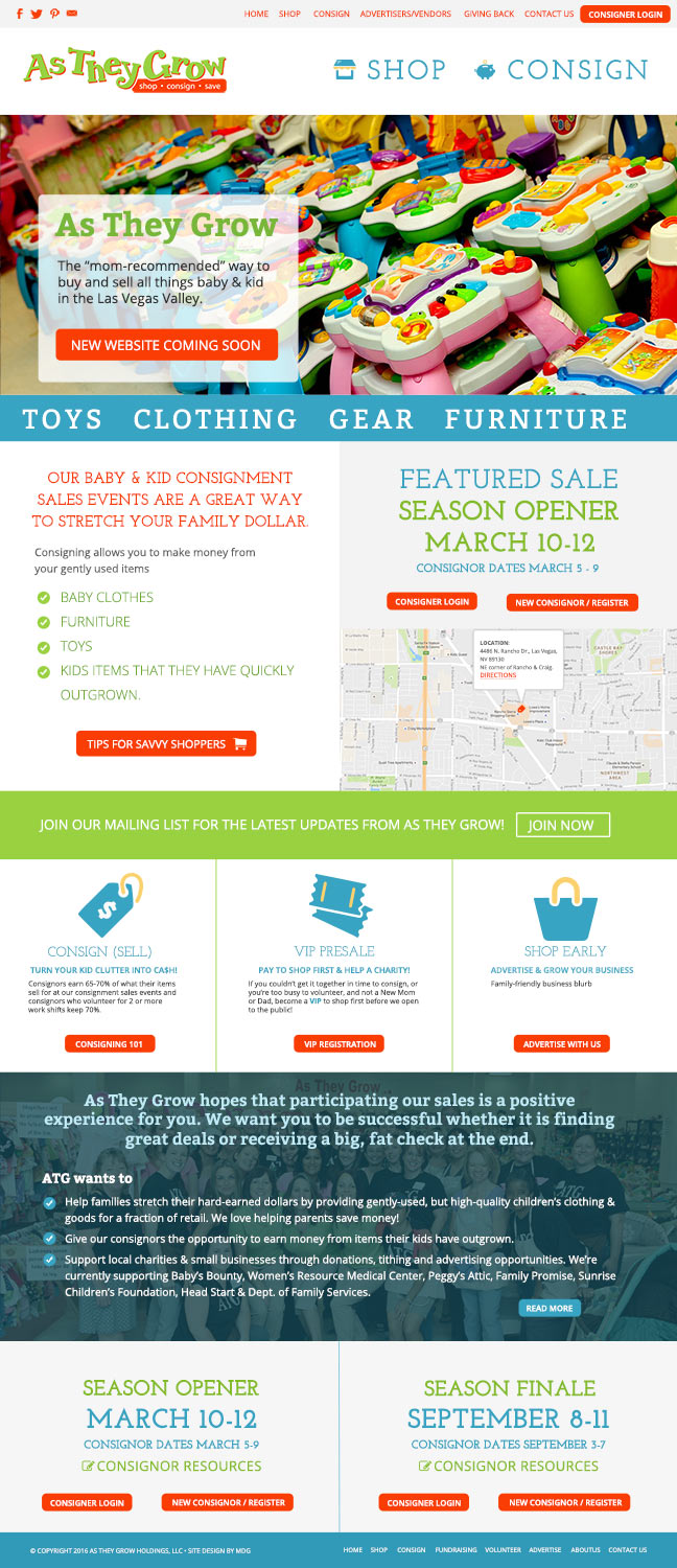 As They Grow Consignment Sales Web Design