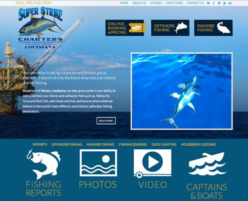 Super Strike Charters Venice, Louisiana Web Design | MDG