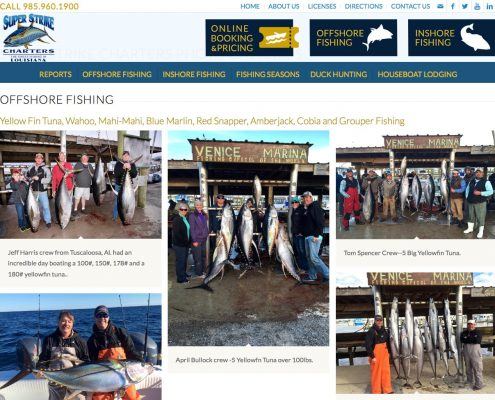 Super Strike Charters Louisiana Web Design | MDG
